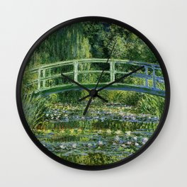 Water Lilies and Japanese Footbridge, Claude Monet Wall Clock