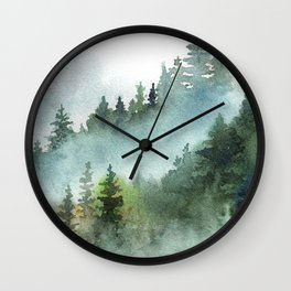 Watercolor Pine Forest Mountains in the Fog Wall Clock