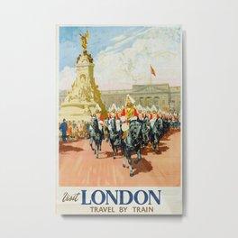 Visit London Vintage Travel Poster Metal Print