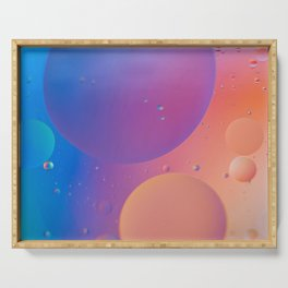 Oil drops in water. Defocused abstract psychedelic pattern image orange and blue colored. Abstract b Serving Tray