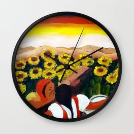 Classical Masterpiece Sunflowers 'Chismosas' by Diego Rivera Wall Clock