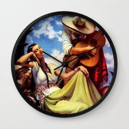 Love and Spanish Guitar under Sonoran Desert Skies by Jesus Helguera Wall Clock