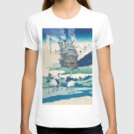 Howl's castle and japanese woodblock mashup T-shirt