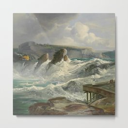 The Rhine Waterfalls, Switzerland landscape painting Christian Morgenstern Metal Print