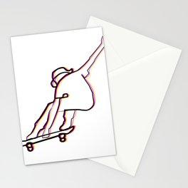 skater illustration, skateboard one liner outline drawing Stationery Cards