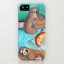 sloths pizza party iPhone Case
