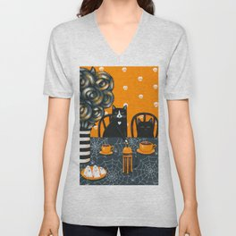 Halloween French Press Coffee Cats Unisex V-Neck