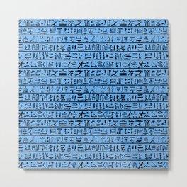 Egyptian Hieroglyphics // Blue Metal Print