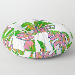 Botanical forest green pink coral watercolor tropical monster leaves Floor Pillow