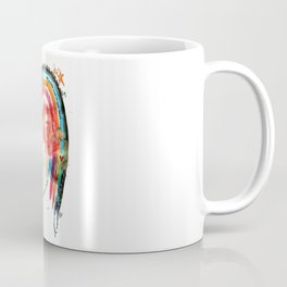 Put a Little Love in Your Heart Rainbow and Doodles Abstract Watercolor Coffee Mug