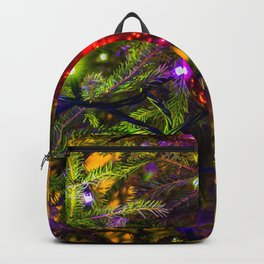 Red Ornament Ball, Blue Lights Backpack