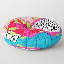Hard Core - memphis throwback retro neon tropical fruit dragonfruit exotic 1980s 80s style pop art Floor Pillow