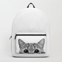 Cat Peeking Up Backpack