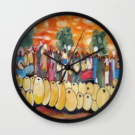 An African Village Market Square Wall Clock