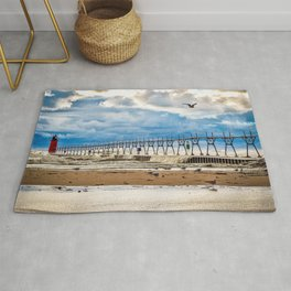 """""""South Haven Lighthouse"""" - South Haven, MI Rug"""