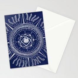 Blue Silver Mandala in galaxy Stationery Cards
