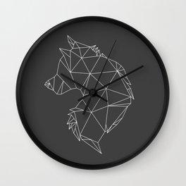 Geometric Wolf (White on Grey) Wall Clock