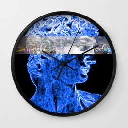 Aesthetic Neon View of the Cityscape Wall Clock