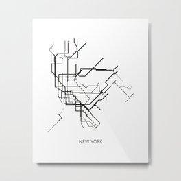 New York Subway Map Print New York Metro Map Poster,Subway Map Print,Metro Map Poster Metal Print