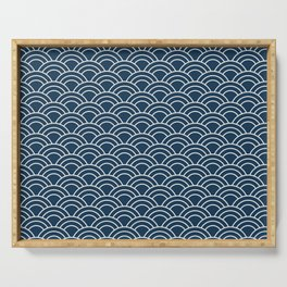 Vintage Japanese Wave Pattern Serving Tray