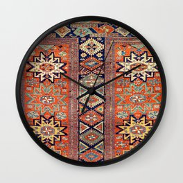 Southwestern Farmhouse V // 19th Century Colorful Red Yellow Blue Green Aztec Farm Stars Pattern Wall Clock