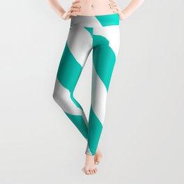 Aqua Diagonal Stripes Pattern Leggings
