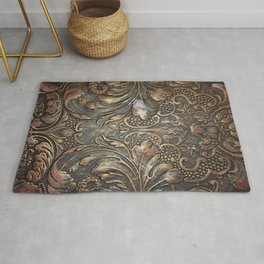 Golden Brown Carved Tooled Leather Rug