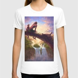 Jungle Beauty and Her Cats Waterfall Vista T-shirt