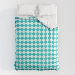 White and Cyan Diamonds Comforters