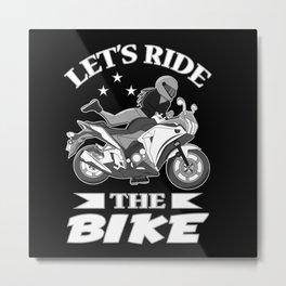 Motorcycle Biker Bike Women Vintage Gift Idea Metal Print