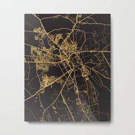 MARRAKESH MOROCCO GOLD ON BLACK CITY MAP Metal Print