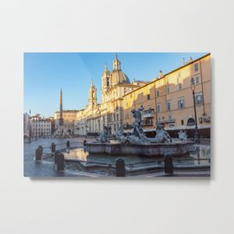 Fountain of Neptune at dawn in the Piazza Navona - Rome, Italy Metal Print