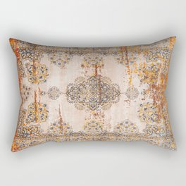 Orange Vintage Rug Design Rectangular Pillow