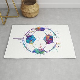 Soccer Ball Colorful Watercolor Sports Rug