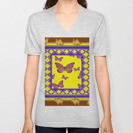 Coffee Brown Monarch Butterflies Yellow-Purple Art Unisex V-Neck