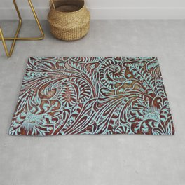 Light Blue & Brown Tooled Leather Rug
