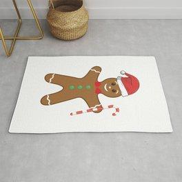Cute Gingerbread Man In Santa Hat Candy Cane Rug