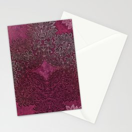lace weave in red wine Stationery Cards