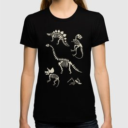 Dinosaur Fossils on Black T-Shirt