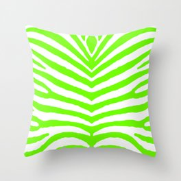 Neon Green and White Tropical Zebra Safari Stripes Throw Pillow