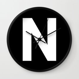 Letter N (White & Black) Wall Clock