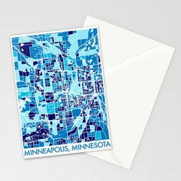 Minneapolis Minnesota Abstract Mosaic Map Stationery Cards