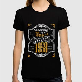Legends Were Born in January 1958 Awesome Birthday Gift T-shirt
