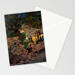 The oaks, the garden of years and other poems floral portrait by Maxfield Parrish Stationery Cards