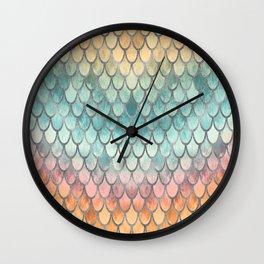 Retro Mermaid Scales Silver Wall Clock
