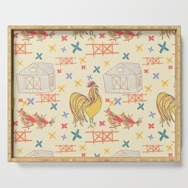 Rooster in farm, (family gathering) pattern Serving Tray