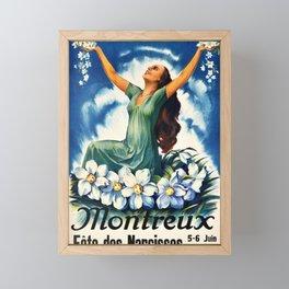 plakater montreux fete des narcisses 1926 fetes Framed Mini Art Print