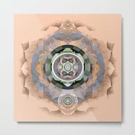 Muted Peach Boho Embroidery Sacred Geometry Mandala Metal Print