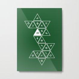 Green Unrolled D20 Metal Print