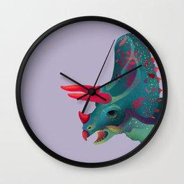 Dinosaur with plant tattoo Wall Clock